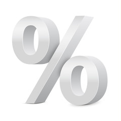 White Percent Sign 3D