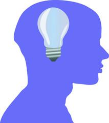 Mann Glühbirne Idee