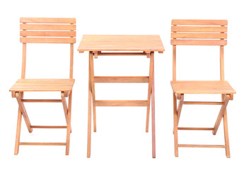 Wooden table with chairs isolated on white
