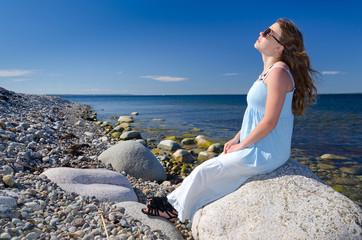 Sunbath on Swedish coast