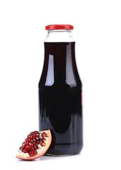 Juice and slice pomegranate on white background.