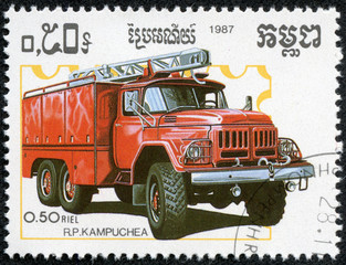 stamp printed in Kampuchea, shows fire truck
