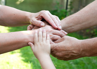 Family holding hands together outdoor