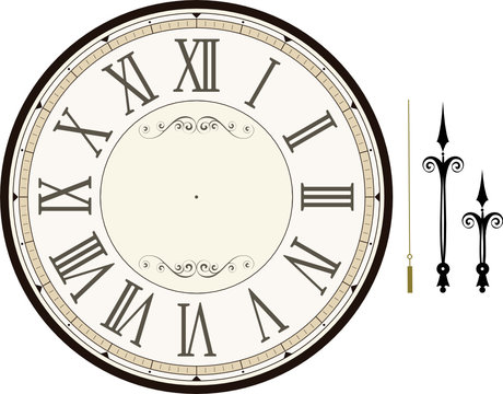 vintage clock face template vector