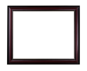 Wooden mahogany picture frame with golden ornament isolated