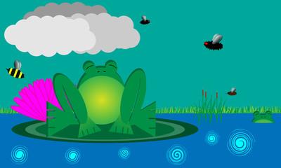 Bull Frog in Pond Scene