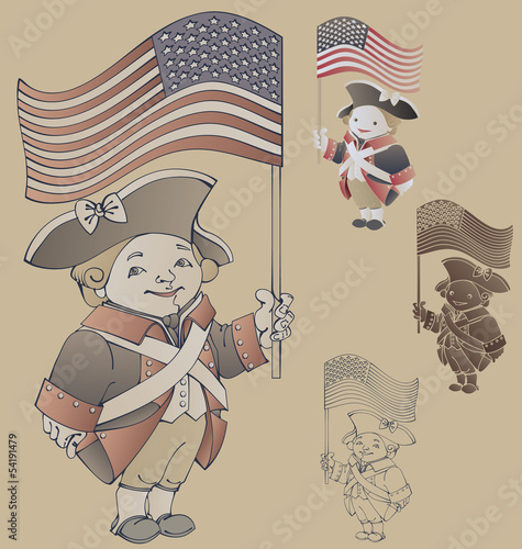 Cute Cartoon Character In Ameriacan Independancewar Patriot Cost
