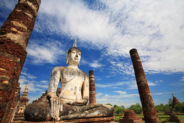 Ancient Buddha statue against blue sky at wat Mahathat