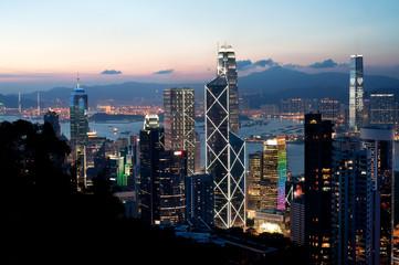 Foto op Plexiglas Hong-Kong Central district skyscrapers at sunset, Hong Kong Island