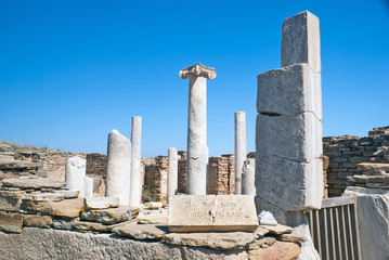 Ionian column capital, architectural detail on Delos island, Gre