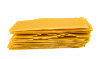 Uncooked lasagna pasta isolated