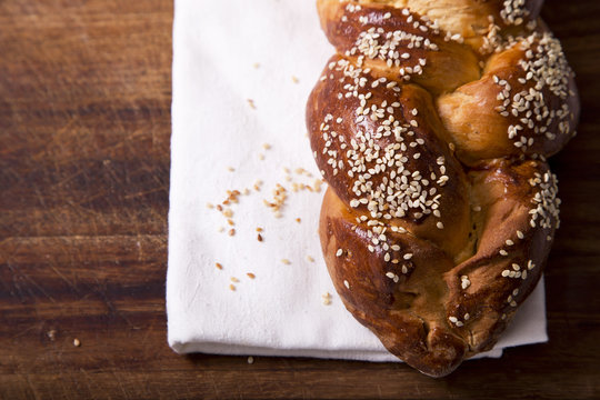 One challah loaf for shabbat