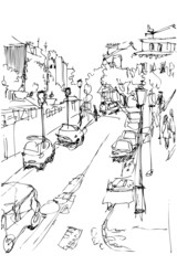 a sketch of municipal street kind from a window