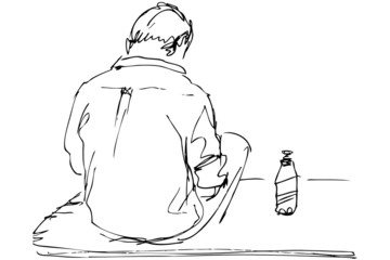 sketch a fellow sits on a table with the bottle of beer