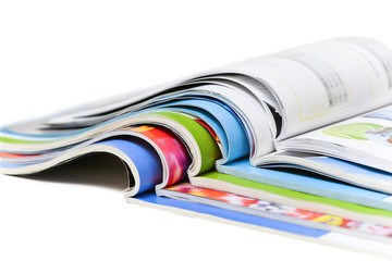 Color magazines isolated on the white background