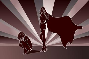 Sad woman with Superhero Shadow
