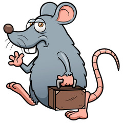 Vector illustration of Cartoon rat get out