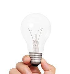 Ideas light bulb in a hand