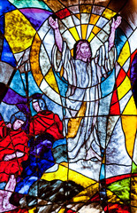 Stained glass showing Jesus resurrection