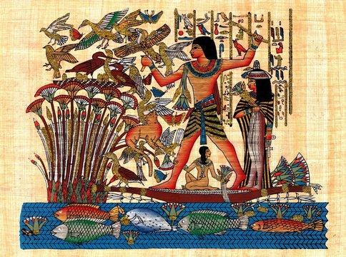 Ancient egyptian papyrus symbolizing family