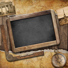 Treasure map, blackboard and old compass. Nautical still life. A