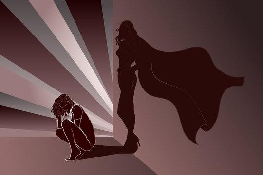 Sad woman with Superhero's Shadow on wall
