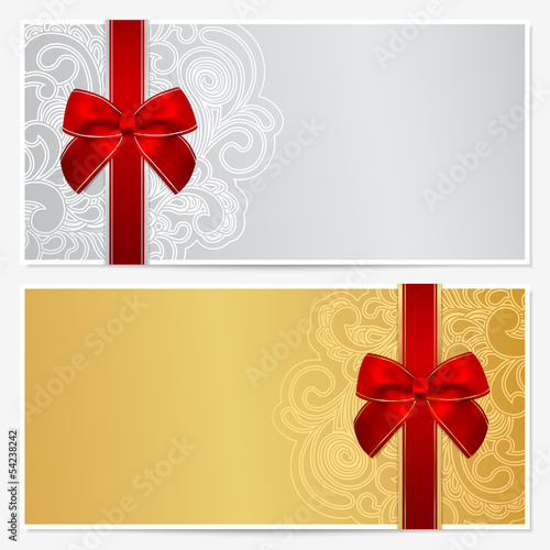 Gift Coupon Template | Gift Certificate Voucher Coupon Template Bow Ribbons Stock