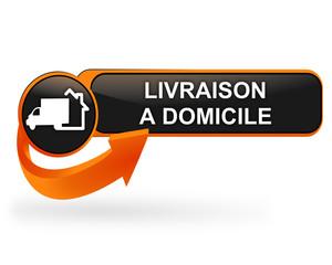 Fototapete - livraison à domicile sur bouton web design orange