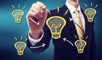 Business Man with Idea Lightbulb