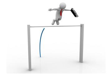 3d Business man Pole-vaulting
