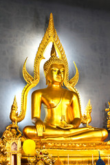 The famous Golden Buddha image in Wat Benchamabophit (Marble Tem