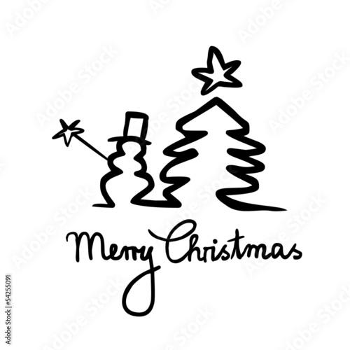 handgemachte weihnachtskarte schneemann tanne schwarz wei stockfotos und lizenzfreie. Black Bedroom Furniture Sets. Home Design Ideas