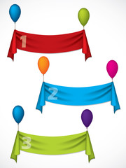 Ribbon infographic design hanging on ballons