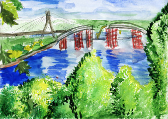 Landscape with the unfinished bridge over the river