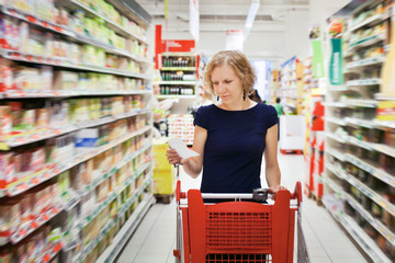 woman in supermarket, shopping