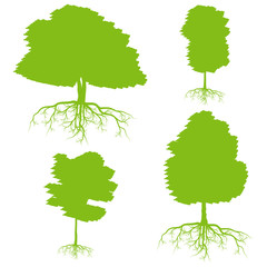 Tree with roots set background ecology vector