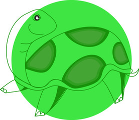 Cartoon animals,turtle in green circle frame