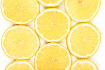 Lemon slices isolated on a white background
