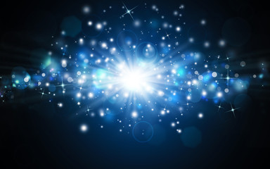 beautiful blue festive background with rays and stars