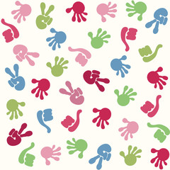 Seamless pattern with hand symbol
