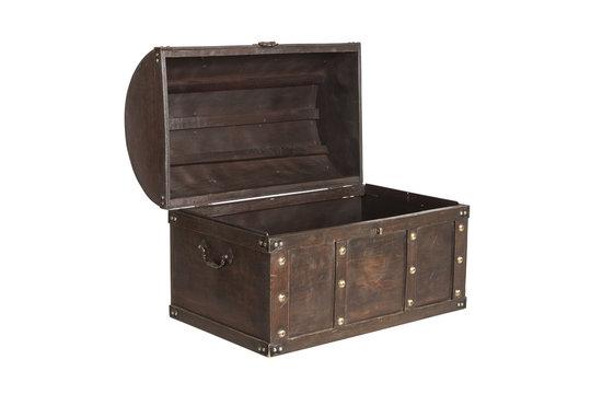 Open treasure chest isolated