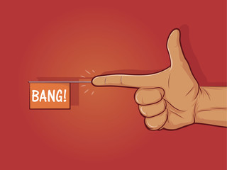 "Illustration of a gun hand gesture with ""bang"" flag"