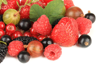 Ripe berries isolated on white