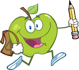 Green Apple Character With School Bag And Pencil Goes To School