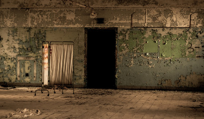 Old Hospital Abandoned Decay Scary Damage Ruin Concept Wall mural
