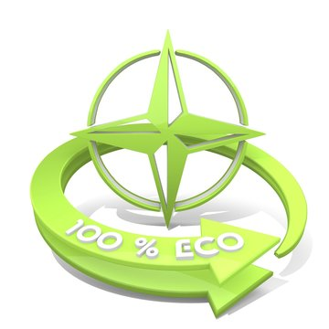 Illustration of a sustainable compass symbol  a 100 percent eco
