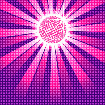Pink discoball with funky polka dot overlay, EPS10 Vector