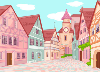Canvas Prints Fairytale World Little Europe town street