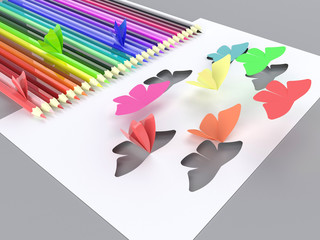 Paper butterflies fly on gray background