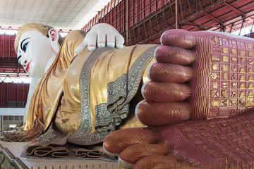 footprint of giant reclining Buddha at Chaukhtatgyi temple in Ya